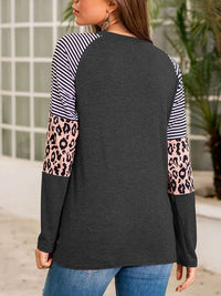 Casual Round Neck Striped Leopard Patchwork Long Sleeve T-Shirt Top - Luckinchic