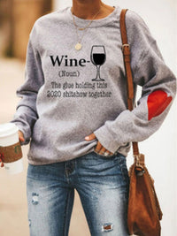 Casual Round Neck Wine Letters Print Long Sleeve Sweatshirt Tops - Luckinchic