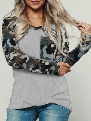 Casual V Neck Camouflage Patchwork Long Sleeve T-Shirt Top - Luckinchic