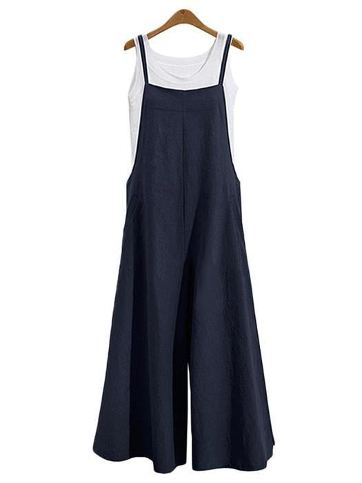 Casual Loose Solid Tank Square Neck Jumpsuit