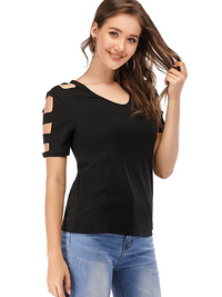 Sexy V Neck Hollow Out Short Sleeve T-Shirt - Luckinchic