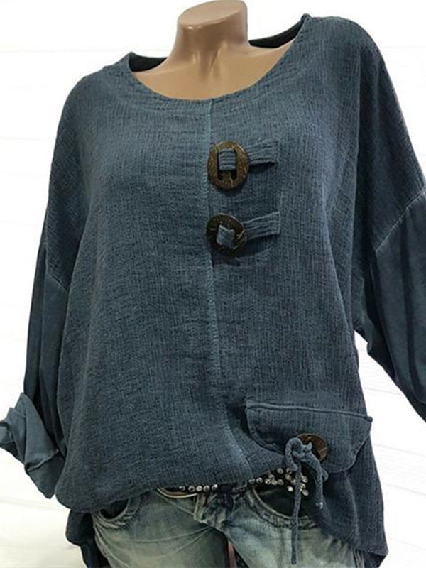 Solid Color V Neck Button Blouse