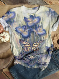 Casual Round Neck Butterfly Floral Printed Short Sleeve T-Shirt - Luckinchic