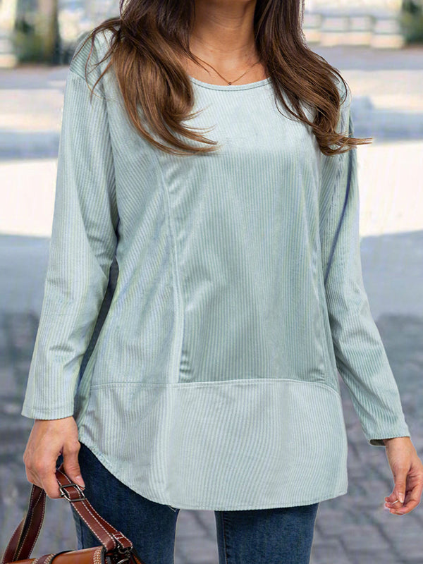 Casual Loose Long Sleeve Round Neck Solid Color Top - Luckinchic