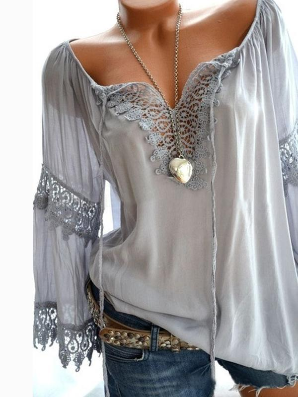 Fashionable Solid V Neckline Long Sleeve Blouse