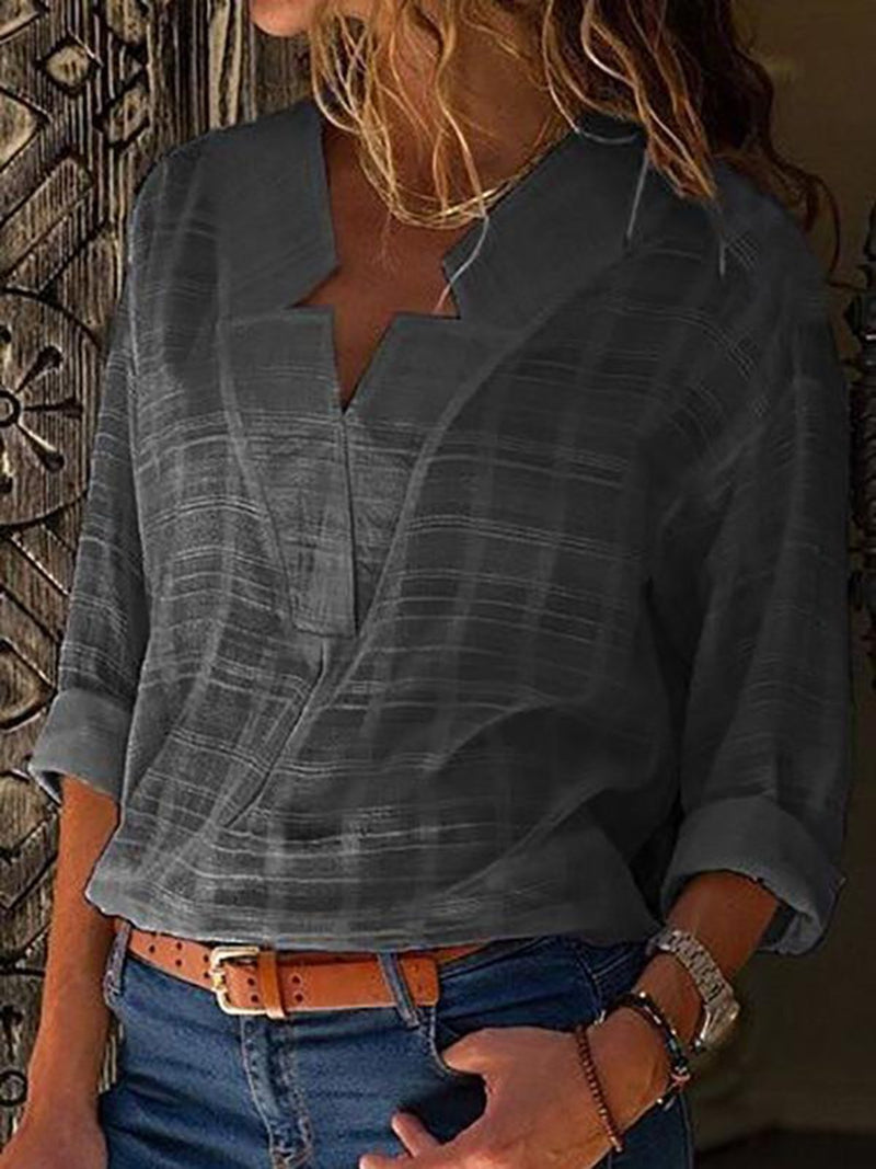 Clearance - Solid Casual V Neckline Long Sleeve Blouses - Luckinchic - LuckinChic.com