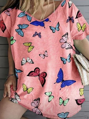 Casual V Neck Butterfly Print Short Sleeve Loose T-Shirt - Luckinchic
