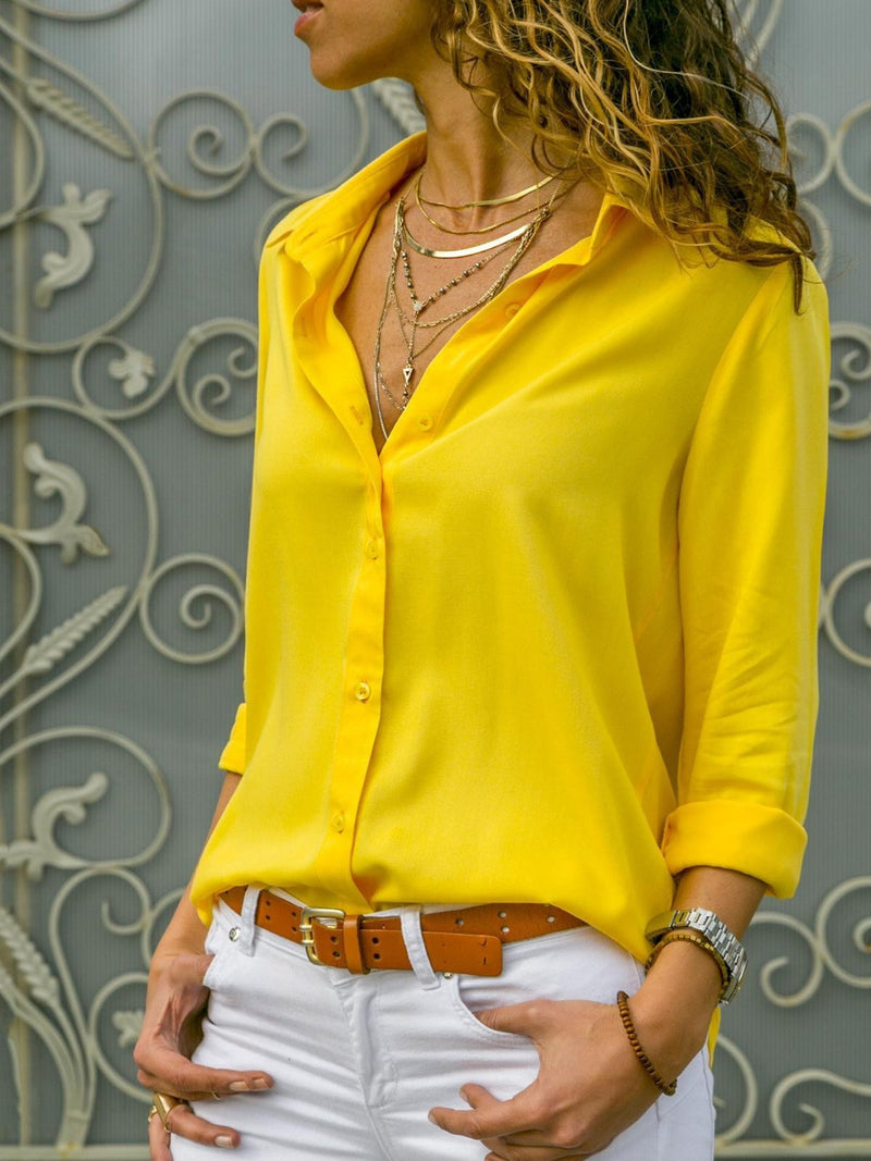 Clearance - Fashion Solid Casual Fold Over Collar Shirt - Luckinchic - LuckinChic.com