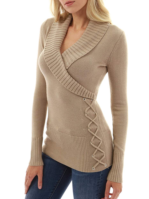 Casual Shawl Collar Long Sleeve Pullover Sweater - Luckinchic - LuckinChic.com