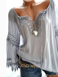 Fashionable Solid V Neckline Long Sleeve Blouse - Luckinchic - LuckinChic.com