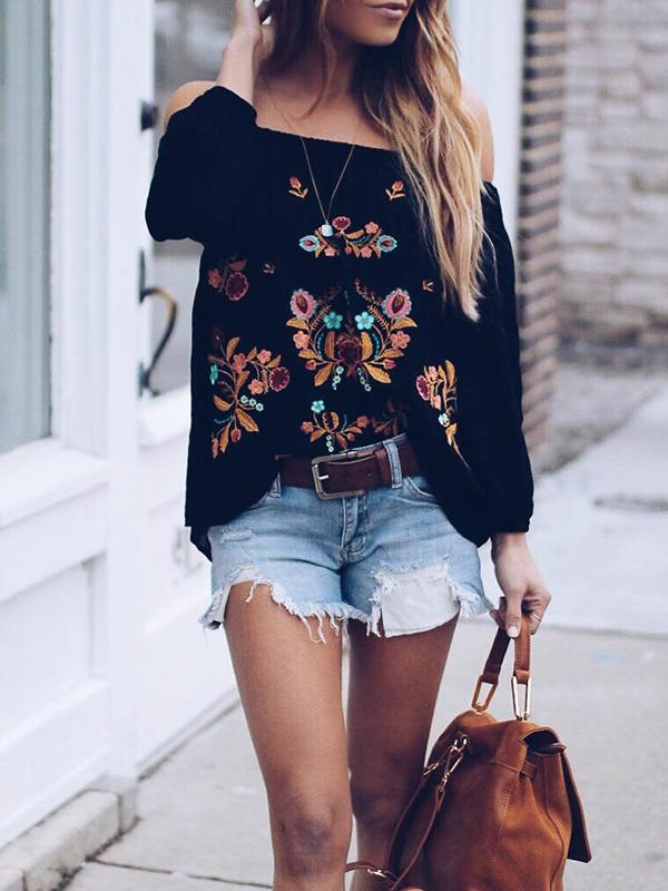 Off Shoulder Embroidered 3/4 Sleeve Casual Blouse