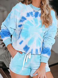 Tie-Dye Printed  Loungewear Long Sleeve Shorts 2 Piece Pajama Sets With Pocket - Luckinchic