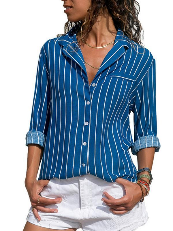 Casual Striped Shirt Collar Long Sleeve Blouse