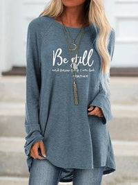Casual Round Neck Be Still Letters Printed Loose Long Sleeve Top - Luckinchic