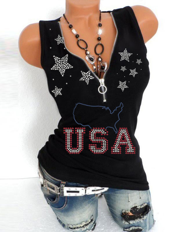 Clearance Comfortable Fabric July Fourth Independence Day Zipper V Neck Tank Tops - Luckinchic