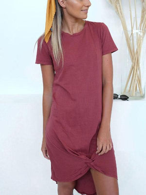 Casual Short Sleeve Solid Knot Tie Mini Dress