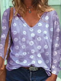 Casual V Neck Floral Printed Long Sleeve Loose T-Shirt Top- Luckinchic