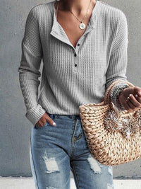 Casual Solid Cotton Round Neck Long Sleeve Blouses