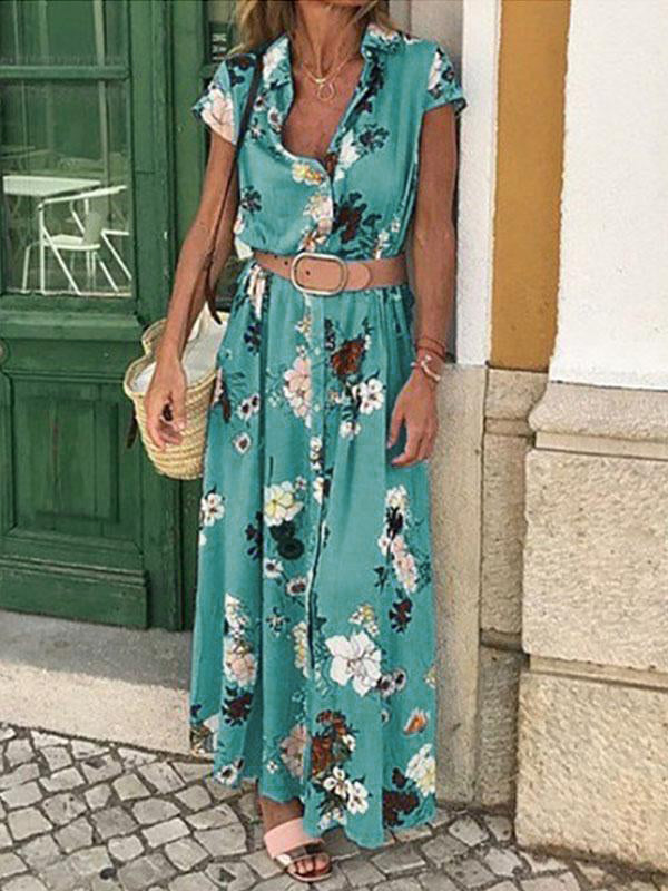 Floral Printed Short Sleeve Lapel Belt Boho Dresses