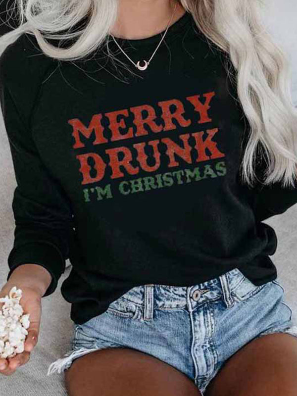 Casual Round Neck Letters Print Long Sleeve Sweatshirt Pullover Tops - Luckinchic