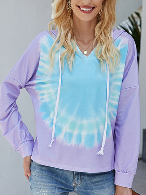 Casual Long Sleeve Tie Dye Printed Hoodie Top - Luckinchic