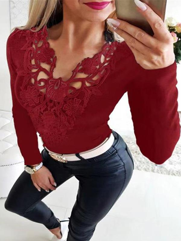 Casual Lace V Neck Long Sleeve T Shirts - Luckinchic - LuckinChic.com