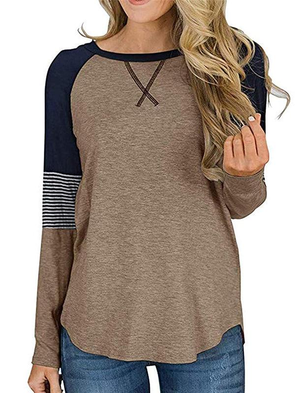 Leisure Round Neck Striped Patchwork Long Sleeve T-shirt - Luckinchic - LuckinChic.com