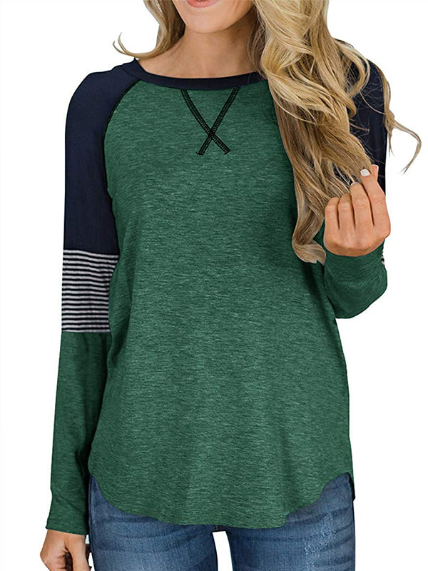 Leisure Round Neck Striped Patchwork Long Sleeve T-shirt
