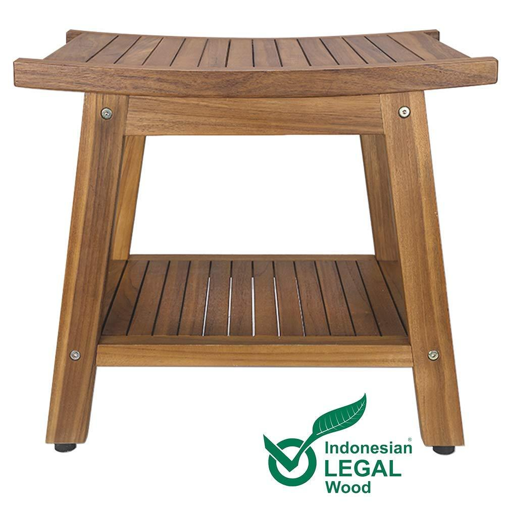"US Stock RHF Teak Shower Bench, Teak Shower Stool, 20"" Sturdy Waterproof Stool with Shelf Foot Stool & Shower Shelf for Your Bathroom. Suitable for Both Indoor and Outdoor, Nander Stool, Assembly Required - Luckinchic - LuckinChic.com"