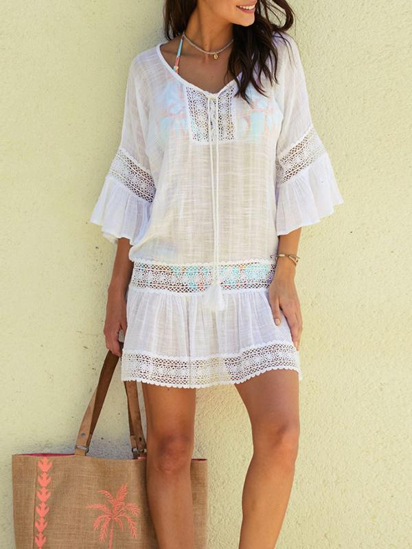 Boho Floral Lace Patchwork V Neck Mini Dress
