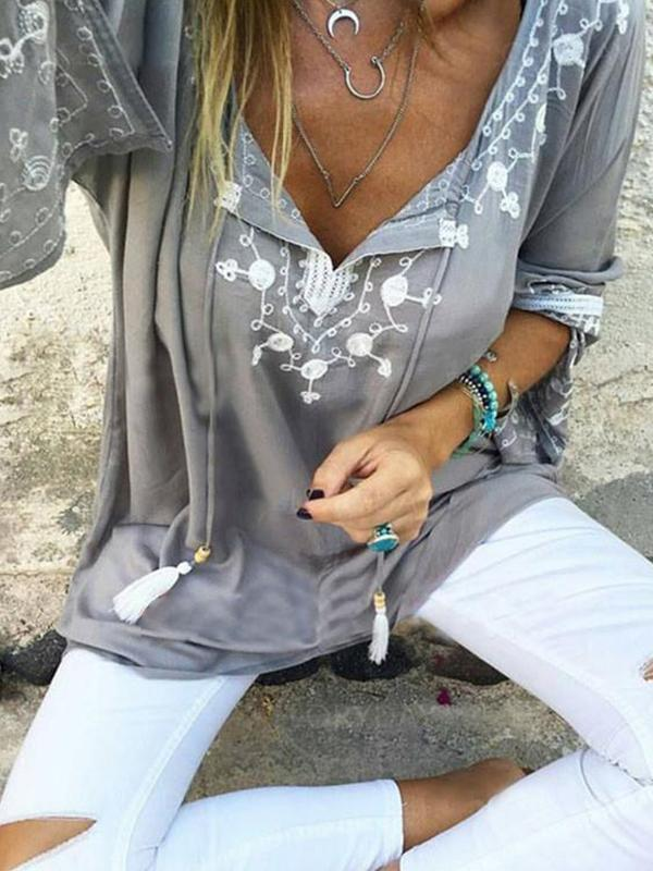 Embroidered Bohemian Floral V Neck Long Sleeve Blouses