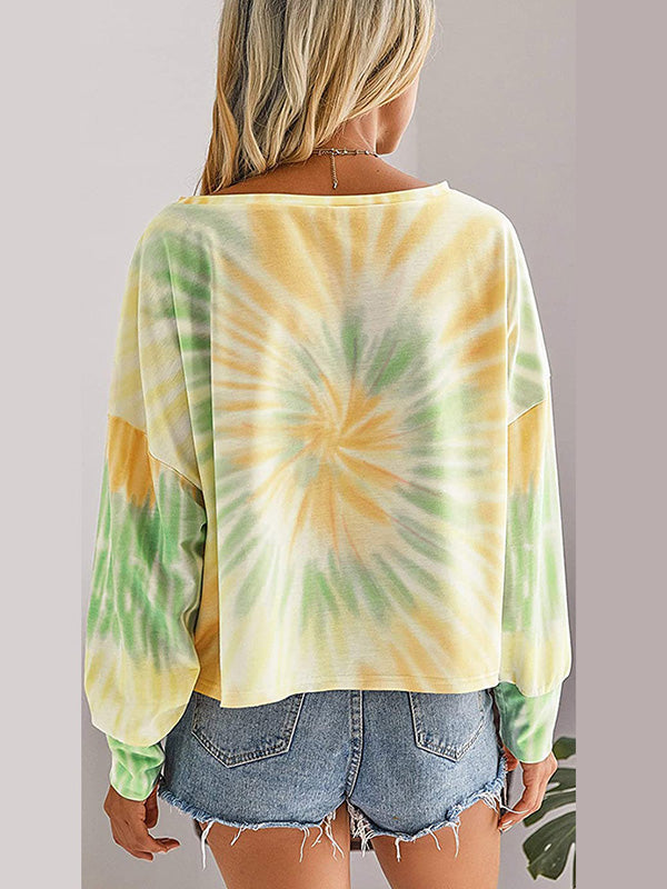 Casual Round Neck Tie Dye Long Sleeve Loose T-Shirt - Luckinchic