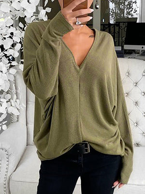 Casual V Neck Solid Color Long Sleeve Loose Top - Luckinchic
