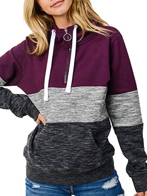 Leisure Round Neck Striped Patchwork Long Sleeve Hoodie