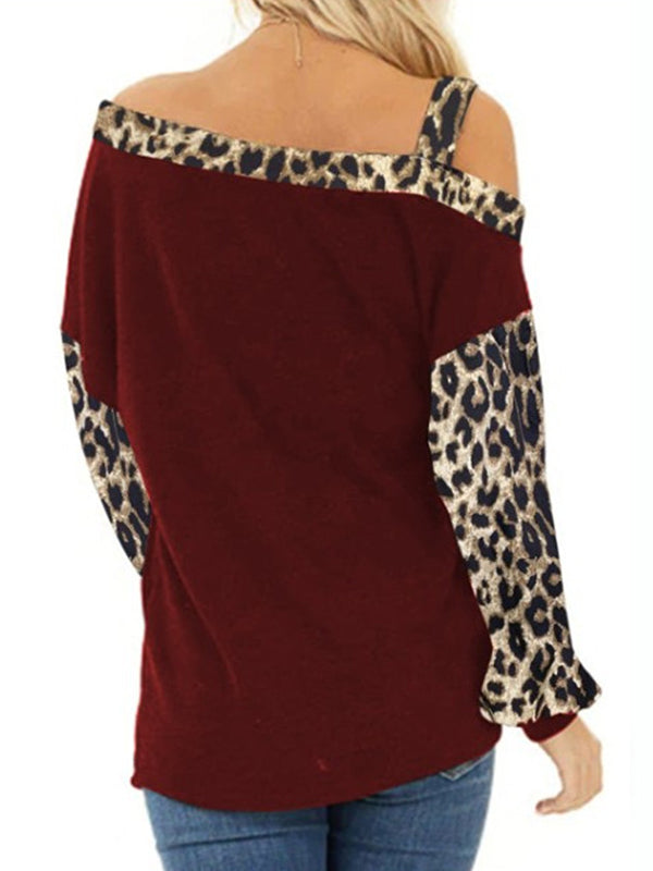Casual Cold Shoulder Leopard Patchwork Loose Pullover Long Sleeve Top - Luckinchic