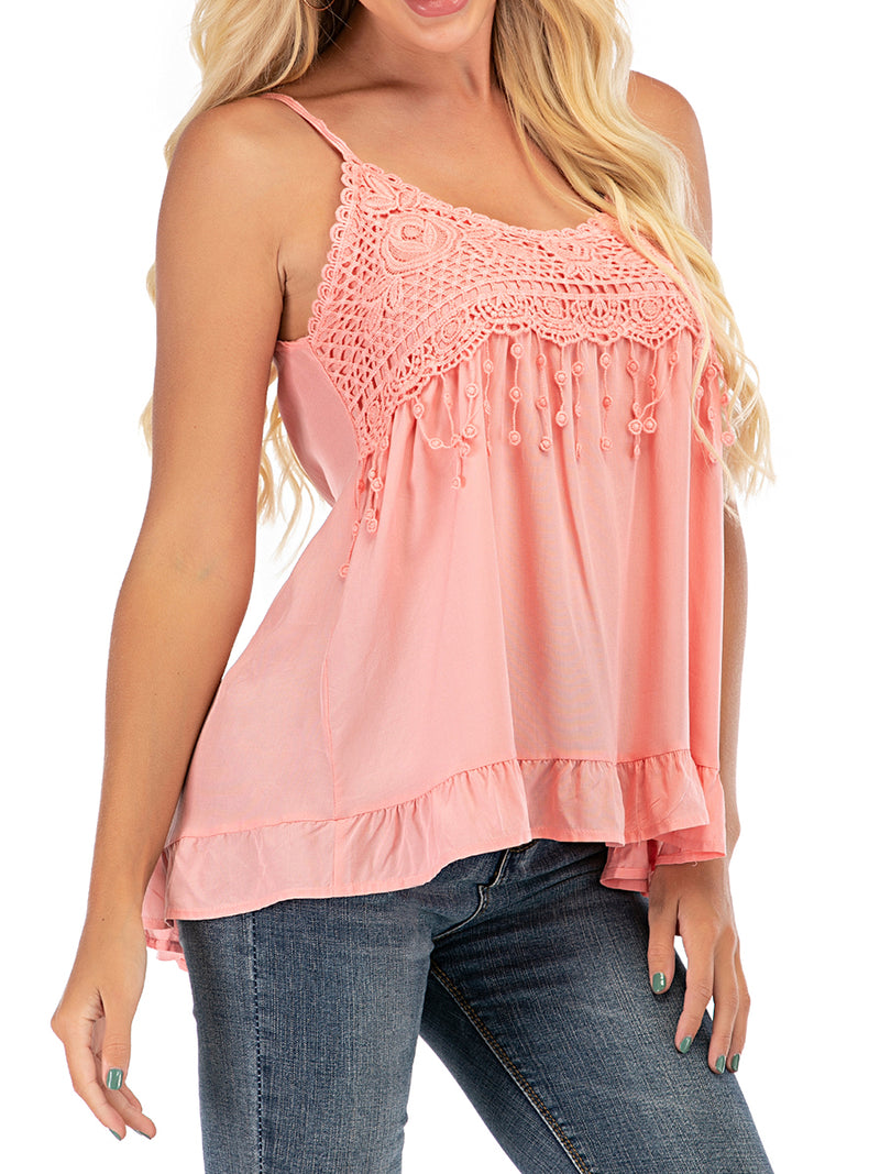 Clearance Lace Sexy Suspender Spaghetti Strap Blouse - Luckinchic