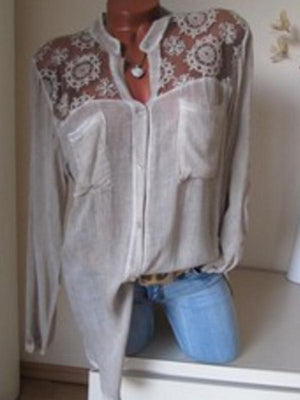 Solid Cotton V-Neckline Long Sleeve Blouses