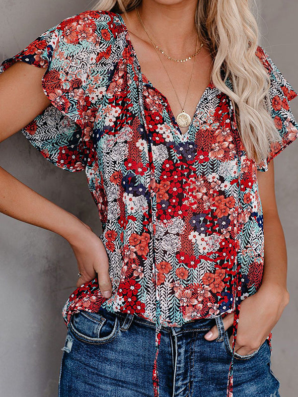 Casual V Neck Floral Print Short Sleeve Blouse - Luckinchic