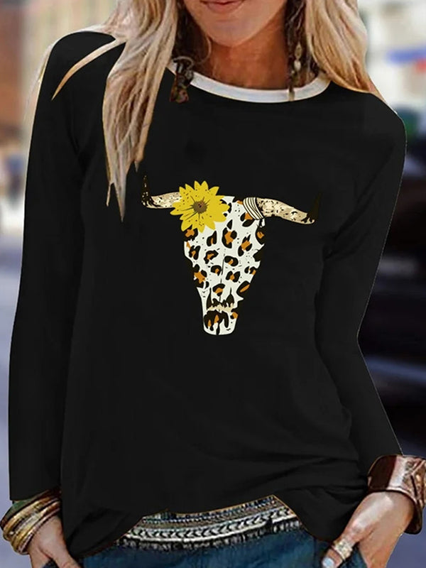 Casual Round Neck Animal Floral Print Long Sleeve T-Shirt Top - Luckinchic
