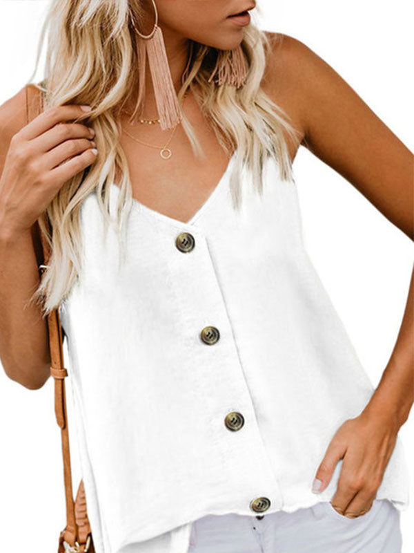 Solid Buttoned Daily V Neck Casual Tanks