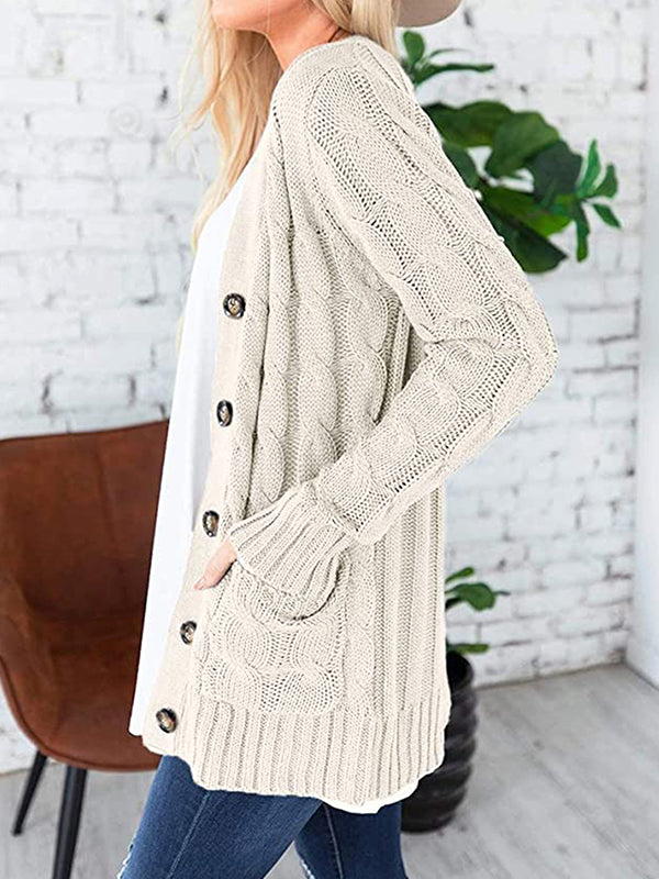 Casual Solid Color Long Sleeve Button Cardigan Sweater - Luckinchic