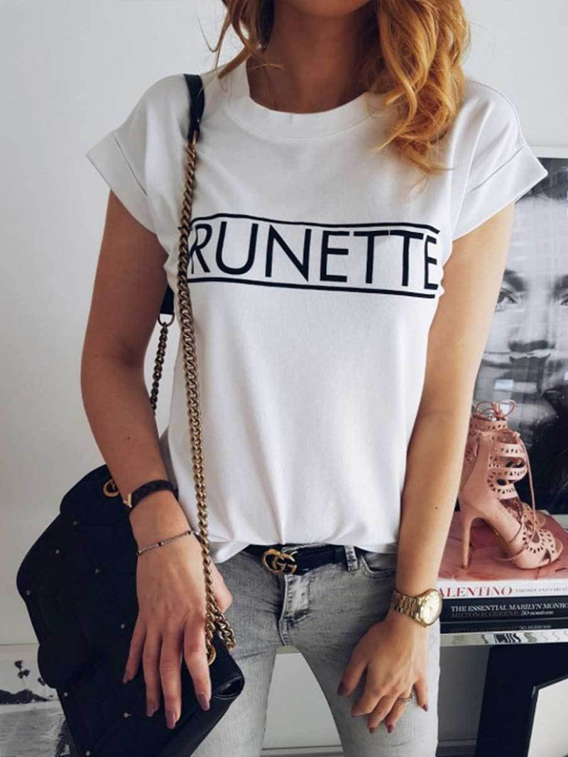 Letters Printed Round Short Sleeve Tee