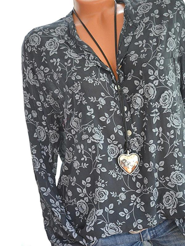 Clearance - Floral Polyester V-Neckline Long Sleeve Blouses - Luckinchic - LuckinChic.com