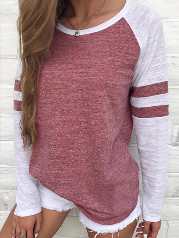 Leisure Round Neck Patchwork T-shirt