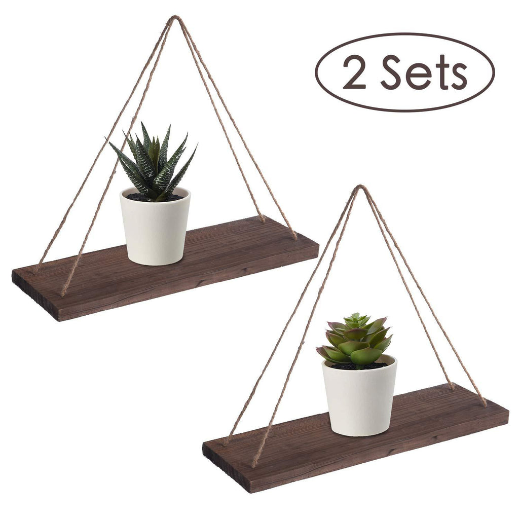 US Stock RHF Rustic Brown 17 Inch Wood Hanging Swing Rope Shelves Floating Shelves Wall Hanging Shelf Closet Hanging Rack Distressed Wood Jute Rope Floating Shelves (Brown, 2 Pack) - Luckinchic - LuckinChic.com