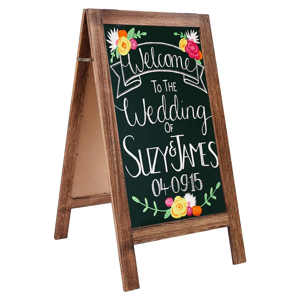 "US Stock RHF Chalkboard Sign, A Framed Chalk Board, Double Sided Sandwich Board,Rustic Wedding Signs,Chalkboard Easel, Sturdy Sidewalk Sign,Easel Message Board,Free Standing,Extra Large 22""x 40"", Brown - Luckinchic - LuckinChic.com"