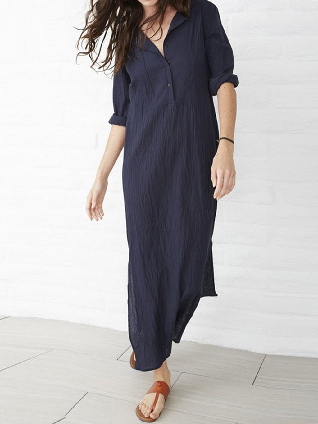 Plus Size Dark Blue Solid Shawl Collar Casual Shift Solid Slit Maxi Dress