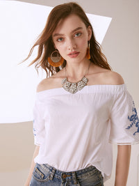 Off Shoulder Embroidered Short Sleeve Bohemian Blouse
