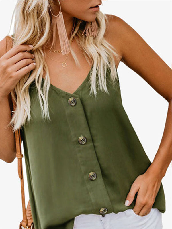 Solid Buttoned Daily V Neck Casual Tanks - LuckinChic.com