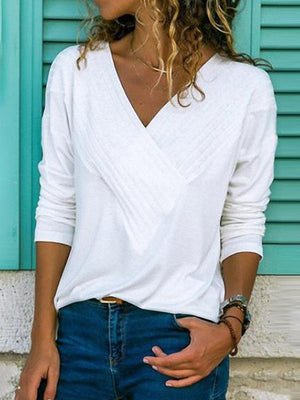 Brief V Neck Long Sleeve Plain Casual Blouse - Luckinchic - LuckinChic.com